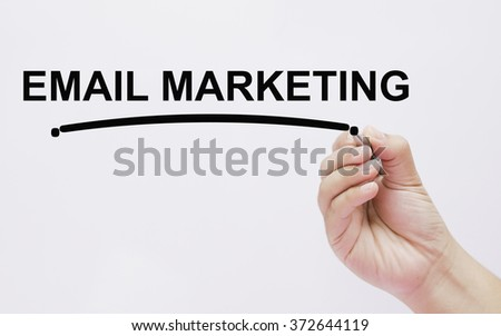 The hand writing email marketing - stock photo
