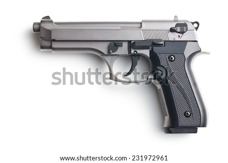 the handgun on white background - stock photo