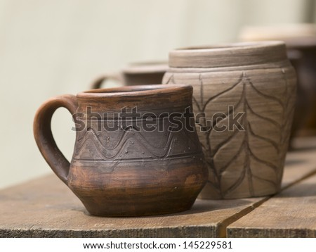 The handmade Loam pots in Moscow art festival - stock photo
