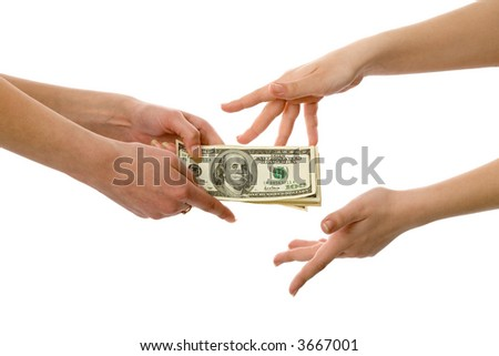 the hands with some us dollars isolated on white