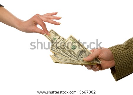 the hands with US dollars on white background