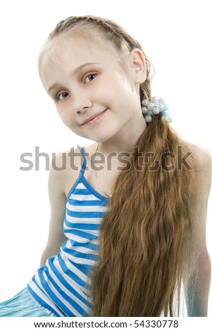 The happy and lovely girl smiles. - stock photo