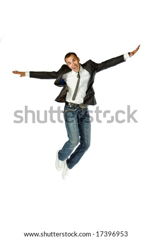 The happy businessman jumping on a white background