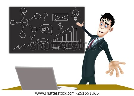 The happy businessman show the blackboard with the business plan - stock photo