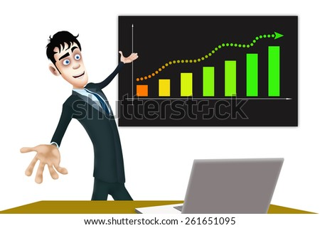 The happy businessman show the blackboard with the business plan