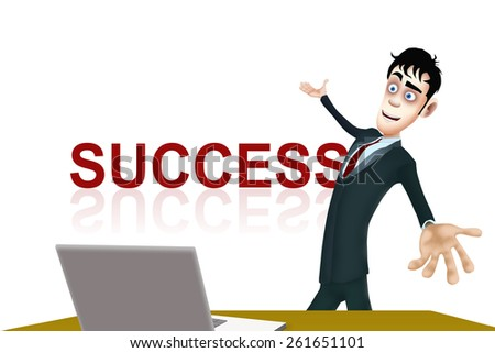 The happy businessman show the  success word - stock photo