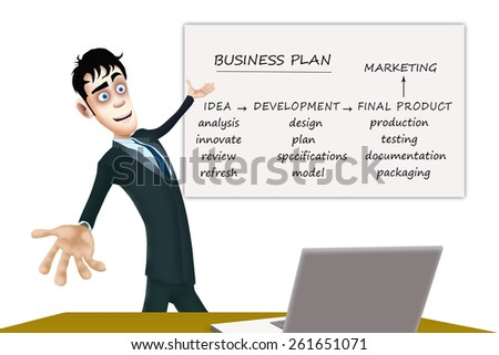 The happy businessman show the whiteboard with the business plan - stock photo
