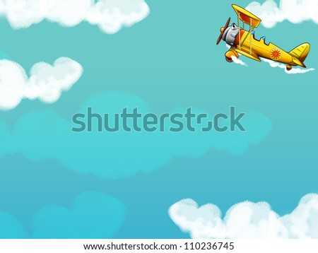 The happy cartoon biplane - illustration for the children - with space for the text