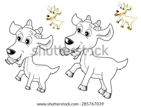 The happy cartoon goat - caricature - coloring page - illustration for the children - stock photo