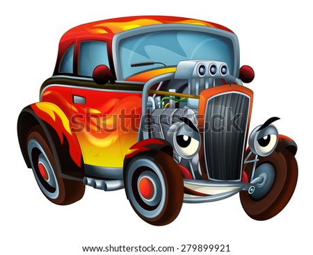 The happy cartoon hod rod - caricature -  illustration for the children - stock photo