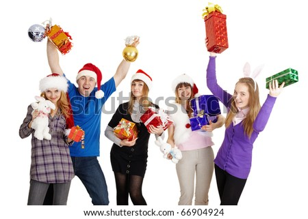 The happy company with New Year's gifts in hands isolated on a white background - stock photo