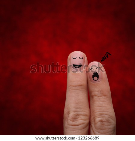 the happy couple in love with painted smiley and sleeping dreaming - stock photo