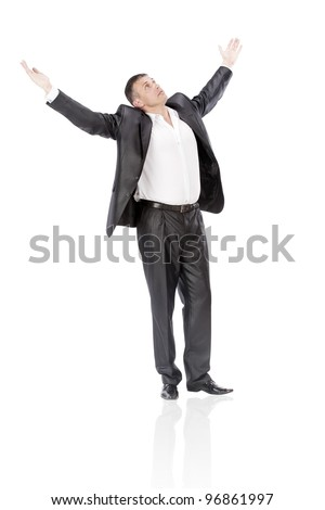 The happy elegant  businessman  on a white background