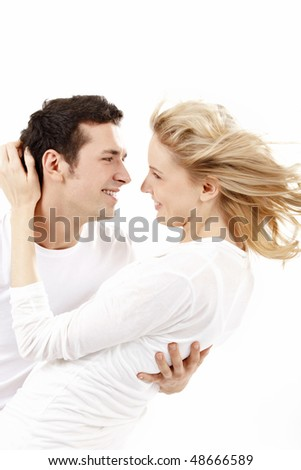 The happy enamoured look against each other - stock photo