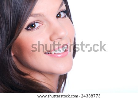 The happy girl on a white background - stock photo