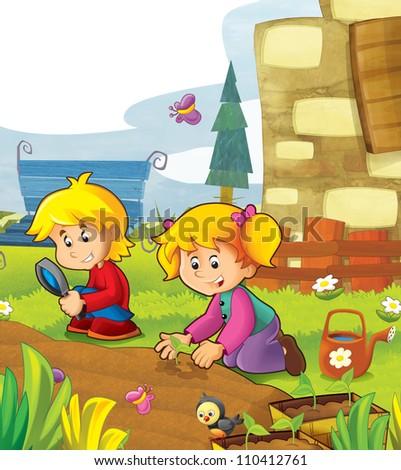 The happy kids having fun in the vegetable garden - illustration for the children 2 - stock photo