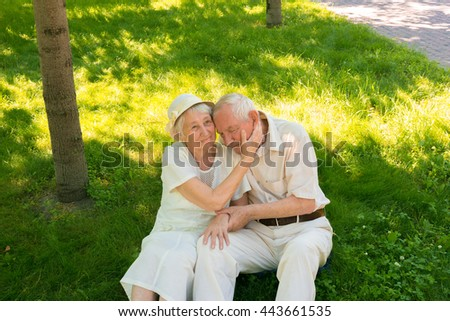 The happy old couple in the summer on a walk - stock photo