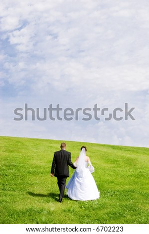The happy pair goes on a green grass on a background of the blue sky - stock photo