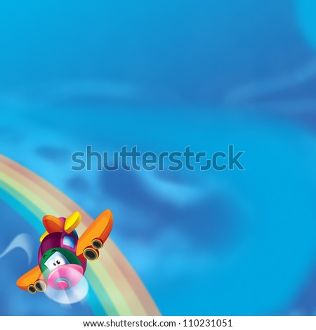 The happy plane is flying on the sky - near the rainbow - illustration for the children - with space for text 2 - stock photo