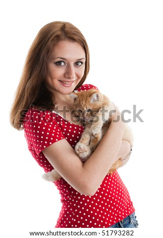 The happy young woman with a small amusing kitten on a white background. - stock photo