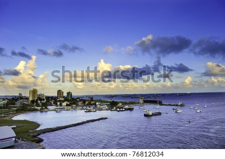 The harbor at Colon, Panama with the city in the background - stock photo
