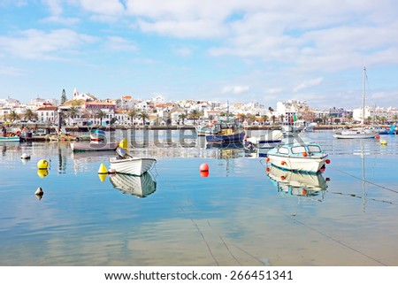 The harbor from Lagos in Portugal - stock photo