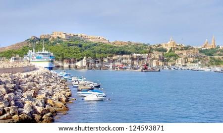The harbor of the little island GOZO, Europe - stock photo