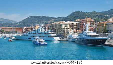 The harbour and port of Nice, France.