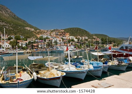 The harbour at Kas or Kash on the Mediterranean coast of Turkey - stock photo