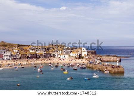 The harbour at St Ives in Cornwall - stock photo