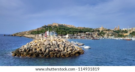 The harbour of Gozo when arriving with the ferryboat from Malta - stock photo