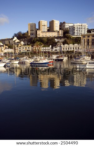 The harbour with boats in Torquay in Devon. - stock photo