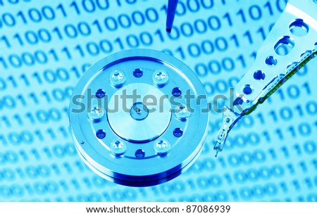 the hard disk of a computer isolated on white background