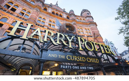 The Harry Potter Musical The Cursed Child at Cambridge Circus in London - LONDON / ENGLAND - SEPTEMBER 14, 2016