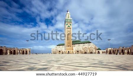 The Hassan II Mosque in Casablanca - stock photo