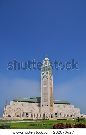 The Hassan II Mosque, located in Casablanca is the largest mosque in Morocco and the third largest mosque in the world