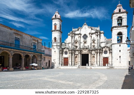 The Havana Cathedral on a beautiful sunny day - stock photo