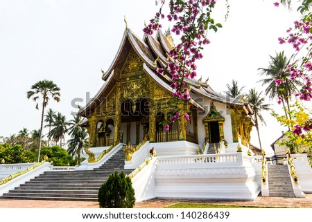 The Haw Pha Bang  Ho Pha Bang  is located at the northeastern corner of the grounds of the Royal Palace Museum  Luang Prabang  Laos - stock photo
