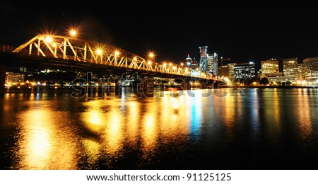 The hawthorn bridge from East bank Portland - stock photo