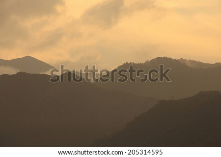 The Hazy Mountains In Fog