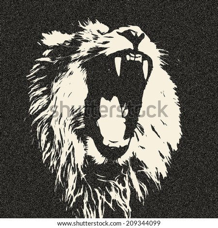 The head of a yawning lion, isolated on black background. The King of beasts shows his huge fangs. Great for user pic, icon, label or tattoo. Amazing illustration in grunge style. Horoscope symbol.  - stock photo