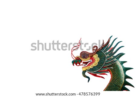 The head of the dragon isolated on white background