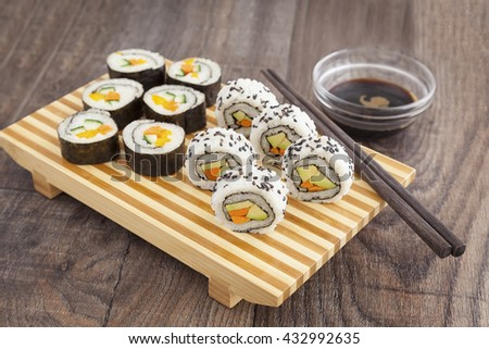 The healthy choice - sushi for vegan and vegetarian with vegetables. - stock photo