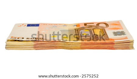 the heap from fifty euro banknotes with clipping path - stock photo