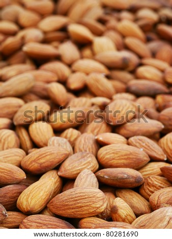 The heap of almonds nuts