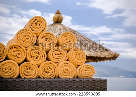 the heap of beach towels. - stock photo