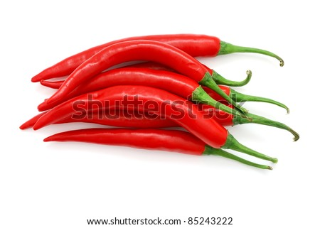 The heap of red hot chili peppers isolated on white background - stock photo