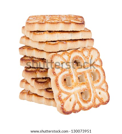 The heap of yummy biscuits isolated