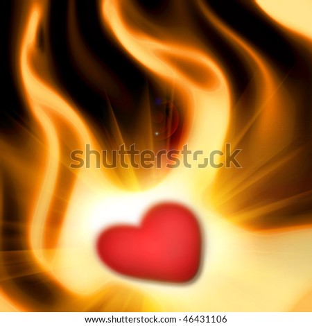 the heart in the fire,abstract background of the valentine's day