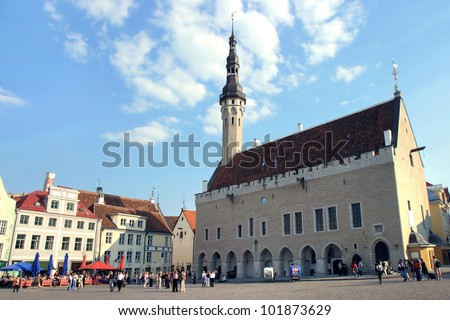 the heart of Tallinn in Old Town with city hall - stock photo